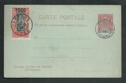 Dahomey. Entier Postal CP3 Avec Réponse  Type Groupe Oblitéré Athieme Avec Timbre Togo Oblitéré Anecho - Dahomey (1899-1944)