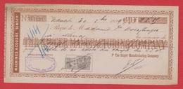 Chèque --  Machines à Coudre Singer --  Nancy --  1899 - Chèques & Chèques De Voyage