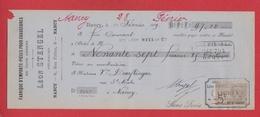 Chèque --  Fabrique D Emporte Pièçes Pour Chaussures--  Nancy --  1899 - Chèques & Chèques De Voyage