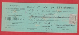 Chèque --  Manu Chaussures En Tous Genres --  Nancy --  1902  --  Déchirures - Chèques & Chèques De Voyage