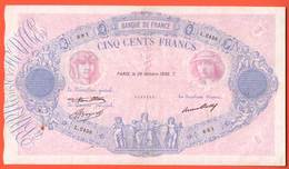 Billet - 500 Francs BLEU & ROSE Du 29 Octobre 1936 TB+ - 500 F 1888-1940 ''Bleu Et Rose''