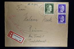 DR: Einschreiben Brief 1943 Nordhausen (Mittelbau-Dora V1 + V2 Werk)  -> Brunn - Germany