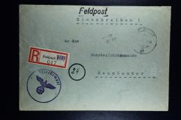 DR: Feldpost  Dienstnr  FP.24704 A Einschreiben Brief  -> Wehrmachtbezirkskommando Neumunster  31-8-1944 - Deutschland