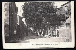CPA ANCIENNE- FRANCE- CAPENDU (11)- AVENUE DE LA GARE EN ÉTÉ- BELLE ANIMATION GROS PLAN- HOTEL DURAND - Capendu