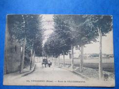 RHONE  69       VENISSIEUX    -  ROUTE DE VILLEURBANNE   - ATTELAGE           ANIME    TTB - Vénissieux