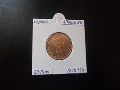 ESPAÑA 1876-76, 25 PTAS, ALFONSO XII, GOLD, EBC, 2 ESCANER - [ 1] …-1931 : Reino