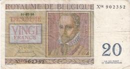 BELGIQUE   20 Francs   1/7/1950   P. 132a - [ 2] 1831-... : Belgian Kingdom