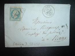 LETTRE TP EMPIRE DENTELE 20c OBL. GC 147 + 28 MARS 68 FECAMP (76 SEINE-MARITIME) à Mr NUGUES Employé Des POSTES à NEVERS - 1849-1876: Klassieke Periode