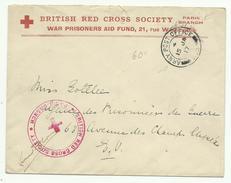British Red Cross Paris Branch + Cachet Army Post Office 15 Ja 17 - Marcofilie