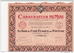 ACTION DE 100 FRANCS -CARBURATEUR MEMINI  -ANNEE 1931 - - Automobile