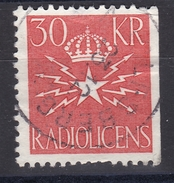 OLD REVENUE STAMP STEUERMARKE TIMBRE FISCAL  SWEDEN SCHWEDEN SUEDE RADIO LICENCE  1957 - 30 Kr Right Cut Slania Engraved - Steuermarken