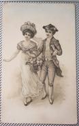 Litho Illustrateur Style Vienne COUPLE Elegant Femme Marquise Panier Chapeau Homme Marquis Habit Jabot - Illustrateurs & Photographes
