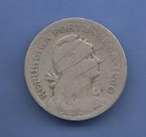 1 Escudo 1935 Portugal, Umlaufmünze, Gebrauchsspuren, Dm 21 Mm - Monnaies