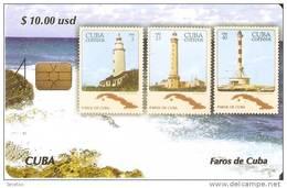 TARJETA DE CUBA DE LA SERIE SELLOS Y FAROS Nº1 (STAMP-LIGHTHOUSE)