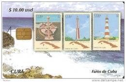 TARJETA DE CUBA DE LA SERIE SELLOS Y FAROS Nº2 (STAMP-LIGHTHOUSE)