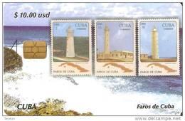 TARJETA DE CUBA DE LA SERIE SELLOS Y FAROS Nº3 (STAMP-LIGHTHOUSE) - Cuba