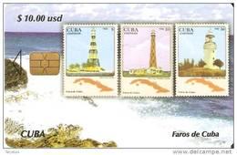TARJETA DE CUBA DE LA SERIE SELLOS Y FAROS Nº4 (STAMP-LIGHTHOUSE)
