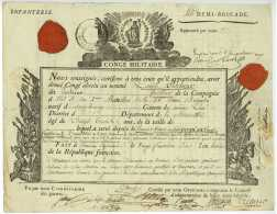 ARMEE D'ITALIE – 44e DEMI-BRIGADE – CONGE - Generaux SAUDEUR, MIOLLIS 1800 GIAVENO Marengo Sarrebourg - Historische Dokumente