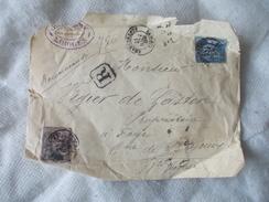 Enveloppe Vide Tampon Chargements Limoges 1888 + 2 Timbres - Limoges