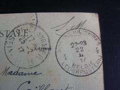 CACHET POSTES MILITAIRES 4  BELGIE LEGERPOSTERIORE 22/02/2017 POUR LA  FRANCE CRIEL SUR MER 25/2/1917 - Autres