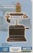 CARTE¤PUCE-URUGUAY-12/2004-HISTORIA Con TELEPHONOS-ERICSSON -Suecia 1910-TBE