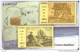 TARJETA DE CUBA CON UNOS SELLOS DE BARCOS (STAMP-SELLO-SHIP)