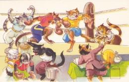 Minouvis Artist Signed Cats Boxing Theme, C1950s Vintage Postcard - Pugilato