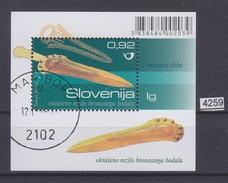 SLOVENIA 2009, CTO STAMP, ARCHEOLOGICAL FINDINGS, DAGGER, BRONASTO OKRAŠENO BODALO, Mi: BLOCK 46,see Scans - Slovénie