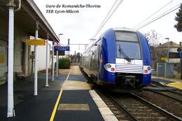Gare De Romanèche-Thorins , Saône-et-Loire , TER Lyon-Mâcon - CARTE PHOTO MODERNE - Gares - Avec Trains