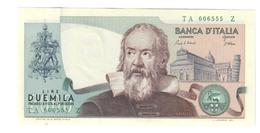 2000 LIRE GALILEO GALILEI CIAMPI STEVANI 1983 Curiosità Carta Azzurrina E Numeri Verdi Q.fds LOTTO 1657 - [ 2] 1946-… : Républic