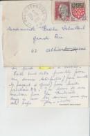 Timbre Sur Enveloppe   Gauchin- Verloingt  Pour Athies Les Arras - Marcophilie (Lettres)