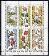 BULGARIA 1989 Endangered Plants Sheetlet MNH / **.  Michel 3735-40 - Blocks & Sheetlets