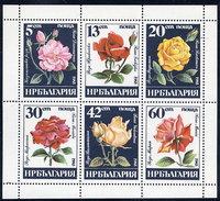 BULGARIA 1985 Roses Sheetlet MNH / **.  Michel 3373-78 Kb - Blocks & Sheetlets