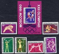 BULGARIA 1980 Olympic Games, Moscow: Combat Sports Set And  Block MNH / **.  Michel 2853-58 + Block 99 - Bulgaria