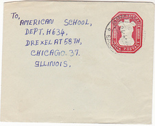 1957? Salem INDIA 15p  Postal STATIONERY COVER To USA Stamps Embossed Lion Emblem - Briefe