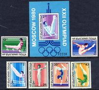 BULGARIA 1979 Olympic Games, Moscow: Gymnastics Set And  Block MNH / **.  Michel 2800.05 + Block 93 - Bulgaria