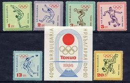 BULGARIA 1964 Olympic Games, Tokyo; Set And Block  MNH / **.  Michel 1488-93 + Block 14 - Bulgaria