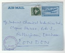 Secunderbad INDIA BANK Of HYDERABAD  UPRATED  AIRMAIL Postal STATIONERY COVER To GB Banking Finance Aviation - Briefe