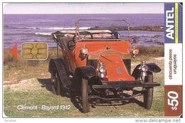 Nº 352 TARJETA DE URUGUAY DE UN COCHE DE EPOCA (CAR) CLEMENT-BAYARD 1912