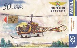 310 TARJETA DE URUGUAY DE UN HELICOPTERO DE LAS FUERZAS ARMADAS (PLANE)