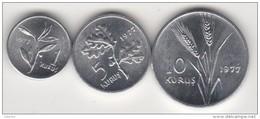TURQUIE,TURKEY,TURKEI,1977 1-5-10 KURUS   ALUMINUM  UNC   !!!!!! - Turkije