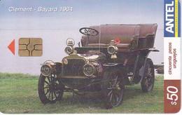 347 TARJETA DE URUGUAY DE UN COCHE CLEMENT BAYARD 1904 (CAR)