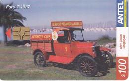 346 TARJETA DE URUGUAY DE UN COCHE FORD T 1927 (CAR)