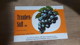 Old Juice Label - Trauben Saft - Autres Collections