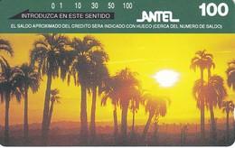 Nº 33 TARJETA DE URUGUAY DE ANTEL DE PALMARES DE ROCHA (PUESTA DE SOL-SUNSET) (NUEVA-MINT)