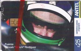 """Nº 367 TARJETA DE URUGUAY DEL PILOTO GONZALO RODRIGUEZ """"GONCHI"""" COCHE CARRERAS-CAR  (NUEVA-MINT)"""