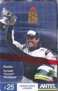 """Nº 368 TARJETA DE URUGUAY DEL PILOTO GONZALO RODRIGUEZ """"GONCHI"""" COCHE CARRERAS-CAR  (NUEVA-MINT)"""