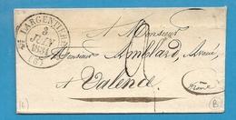 Ardèche - Largentière Pour Valence. CàD Type 12 + Taxe 3. 1831 - Marcophilie (Lettres)