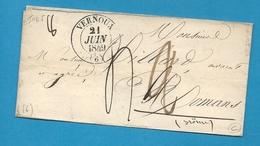Ardèche - Vernoux Pour Romans (Drome). CàD Type 13 + Taxe 2 Puis 4 Décimes. 1849 - Marcophilie (Lettres)