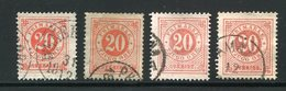 SUEDE- Y&T N°21(A)- Oblitérés (4 Teintes Différentes) - Oblitérés